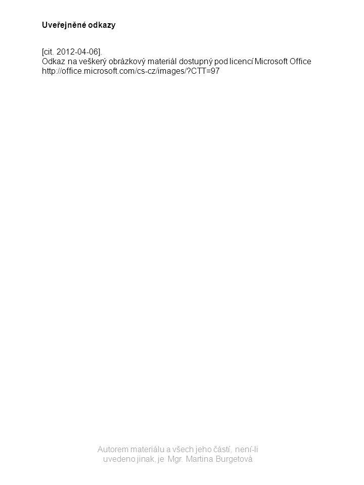 Uveřejněné odkazy [cit. 2012-04-06]. Odkaz na veškerý obrázkový materiál dostupný pod licencí Microsoft Office.